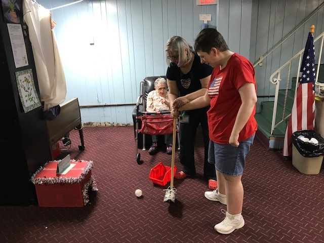 mini golf with adapted club