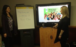 Mental Health First Aid Training was presented on Feb. 25, 2016 by Melissa Zirwas, Chartiers Center, and Michelle Sloane, Wesley Spectrum.